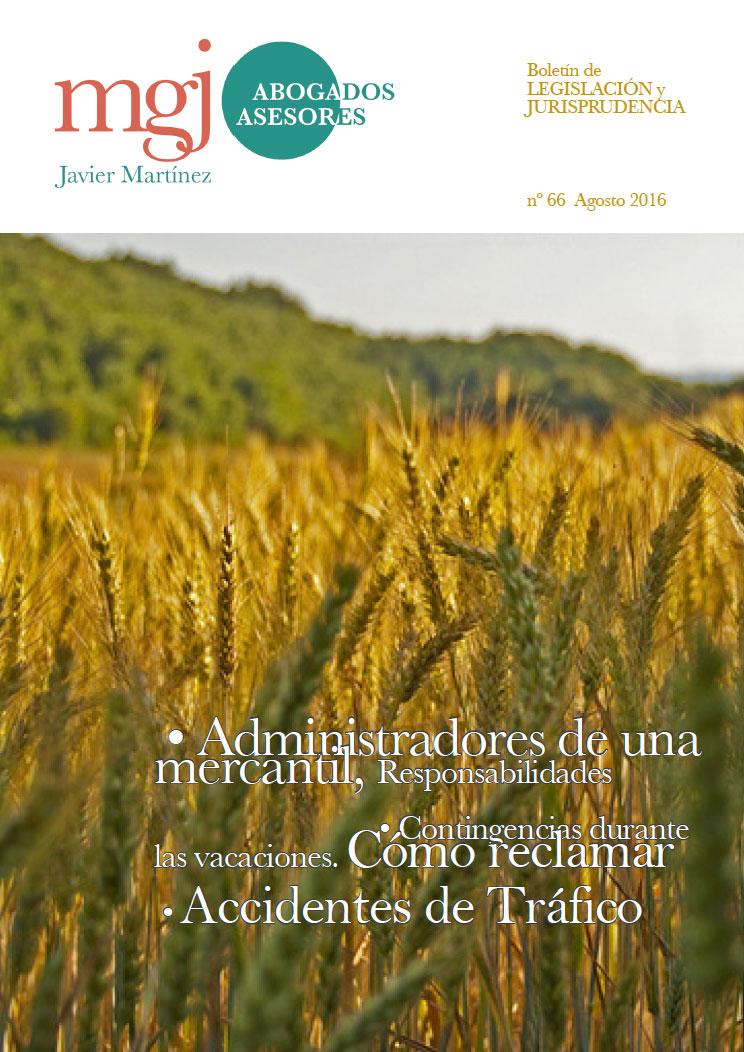 MGJ Abogados Boletín. Agosto 2016